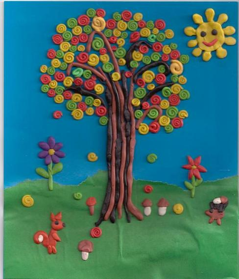 Картинка дерева из пластилина